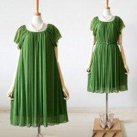 パーティードレス 緑 デートコーデ ラウンドネック L 即納 M LL 黒 ピンク Vネック 69386806 エアリー シフォン オケージョン ワンピース 結婚式