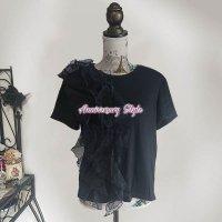 Tシャツ 4層 フリル 黒 F 即納 トップス レディース 半袖 2485086 無地 丸首 可愛い カットソー おしゃれ 個性的 夏 ブラック