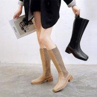 ロングブーツ ニット 22-24.5cm 黒 ベージュ 5cmヒール YY20201217696 秋冬 靴 レディース スクエアトゥ バックファスナー