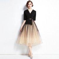 きれいめワンピースドレス デートコーデ 大人可愛い パーティードレス 大きいサイズ S-3L 黒 レディース MD-S566596 星柄  チュール 五分袖 Vネック グラデーション 結婚式