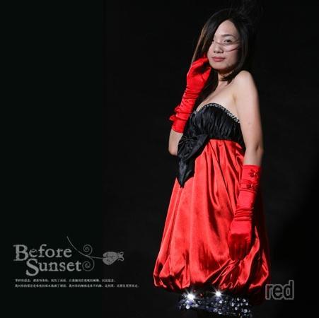 【予約】2010秋ミニドレス結婚式ビジューバルーンコクーンリボンワンピベアトップ黒赤パーティ二次会