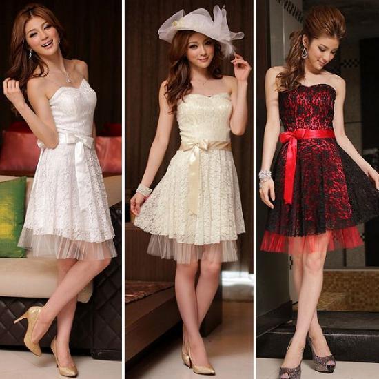 【赤即納SALE】上品で華やかなレースパーティードレスベアトップ結婚式二次会ミニウェディングドレス白赤
