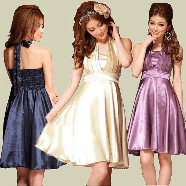 予約★大きいサイズ★全3色★結婚式 パーティー プリーツ ホルターネック ドレス ワンピース