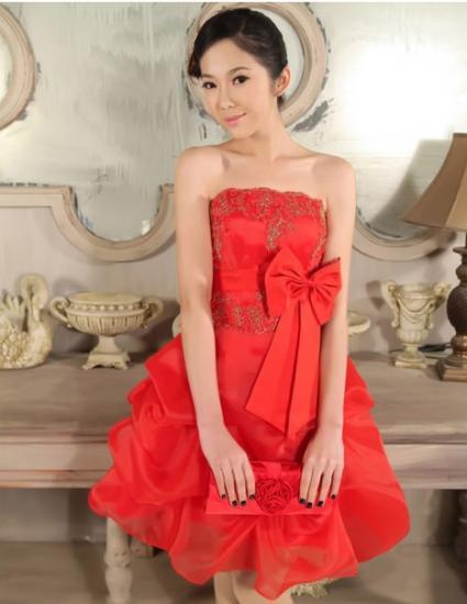 【赤M即納】ベアトップリボンつまみバルーンミニドレス赤ピンク結婚式パーティー二次会