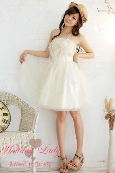 YJ-2260結婚式 パーティー 可愛い 花刺繍 ドレス ワンピースライトベージュL