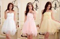 大きいサイズ パーティー 結婚式 ウエスト花蕾 不規則チュール裾 ドレス ワンピース