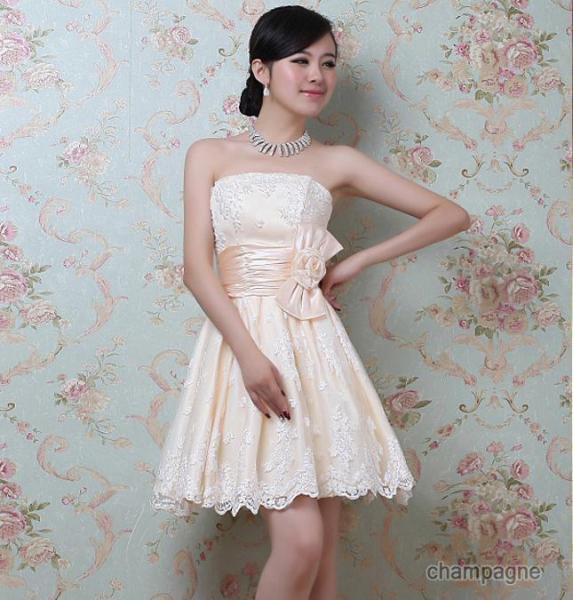 【予約】レース付きリボン結びドレス :シャンパーニュ_W11A6201
