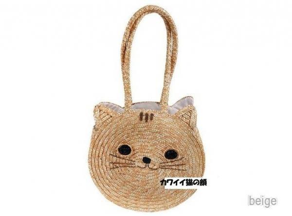 【予約】猫ちゃん顔ショルダーかごバッグ :ベージュ_K29A0055 ...