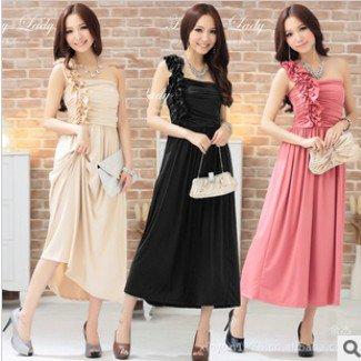 【予約】全3色結婚式ワンショルダーマキシワンピースロングドレス 大きいサイズ パーティードレスu0126