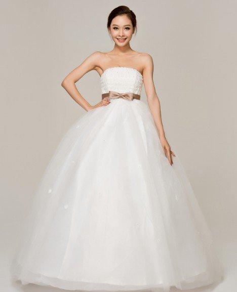 【予約】新作★可愛いリボンスウィート系★ベアトップブライダル衣装★ウェディングドレス