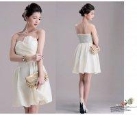 新作 光沢素材 パーティー 披露宴  胸元プリーツ バルーンデザイン ドレス ワンピース