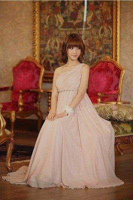 【予約】ワンショルダーギリシャ風マキシワンピースロングドレス結婚式パーティー二次会4色S~XL E10764-186…