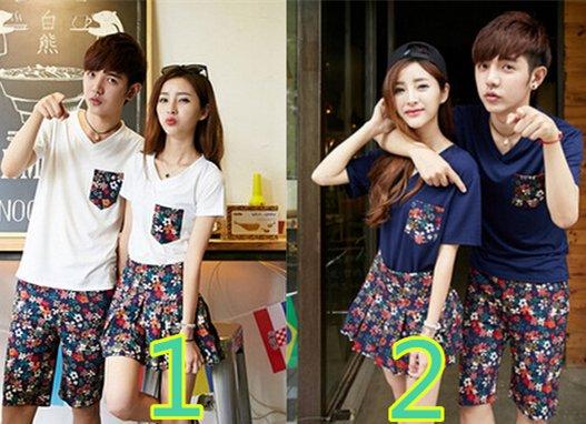 【一部即納予約】春夏ペアルックカップルペアTシャツ&スカートパンツ上下セット花柄YN482
