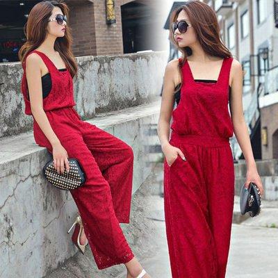【予約】チューブトップ付総レースガウチョオールインワンパンツドレス赤S/M/L X11687-54256
