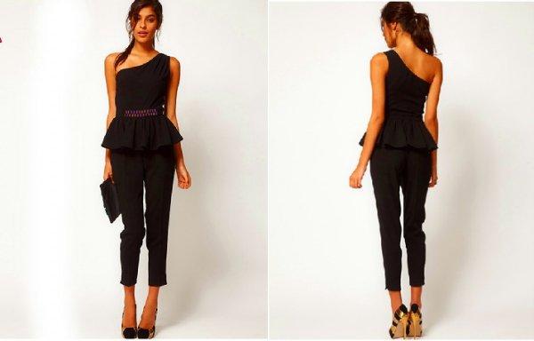 【S即納他予約】ビジューワンショルダーオールインワンパンツドレス(かなり薄手)黒S/M/L/XL/2XL 30813