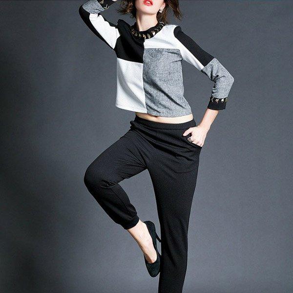 ツーピースパンツスーツ【一部即納予約】ビジュー付長袖Tシャツ&クロップドパンツドレス黒S-XXL hfon-0819 120…