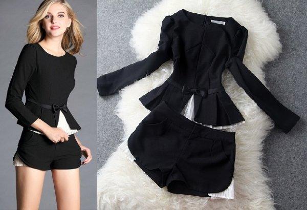 ツーピース【予約3-9日】パンツスーツショートパンツドレス上下セット長袖黒S-2L T80746