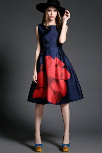 膝丈ドレス【予約】個性的大柄花柄ワンピース紺S-3L T82819