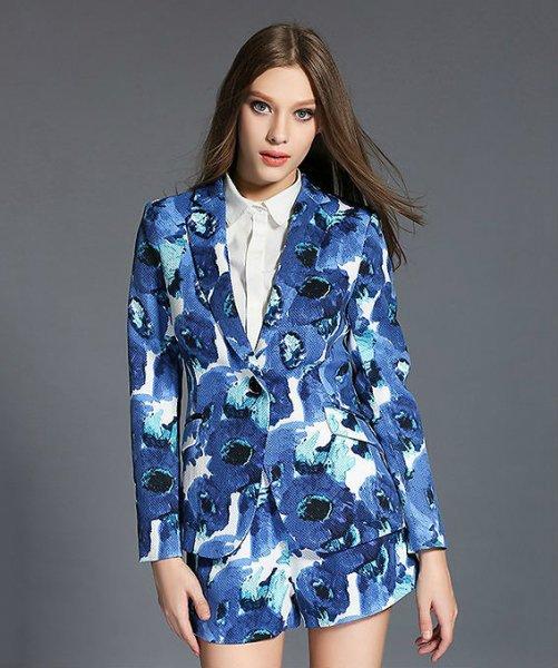 パンツスーツ【予約2-3週】ツーピースショートパンツドレス上下セット青花柄S-XL 52192