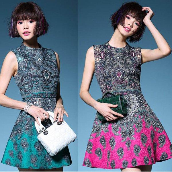 ミニドレス【予約】レトロ風ジャガードビジュー縫製配色ワンピース緑ピンクS-2L T82673