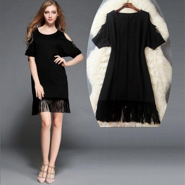 ミニドレス【予約3-9日】肩だし気品ビジュー縫製タッセルワンピース黒S-L T83277