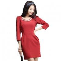 ミニドレス予約 ビジュー縫製七分袖ワンピース赤緑黒S-3L YJ-6667