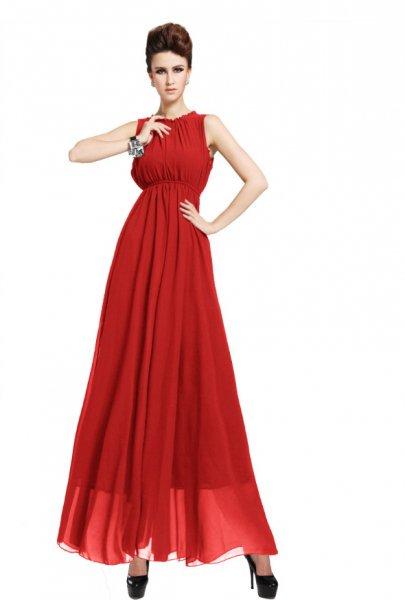 ロングドレス【予約】定番パーティー披露宴シフォンマキシワンピース黒赤S-3L大きいサイズ 87091E