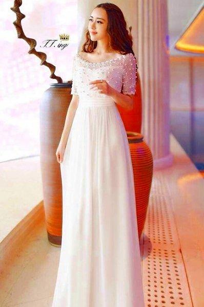 マキシワンピース【一部即納予約】ロングドレスシースルーレース5分袖結婚式パーティー二次会白ホワイトXS S M 506…