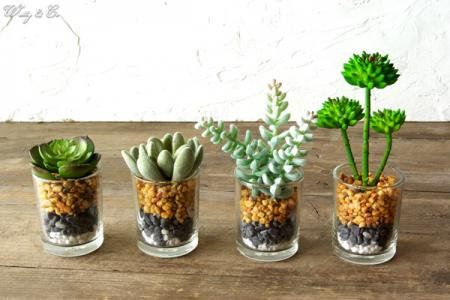 人工観葉植物 Succulent Glass Pot 4点s...