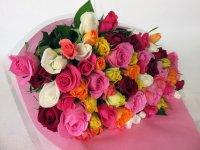 緑寿お祝いバラの花束(色とりどり)66本