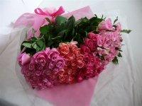 古希お祝いバラの花束(ピンク・カルテット)70本