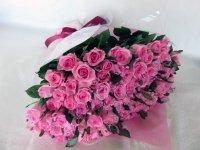 喜寿お祝いバラの花束(ピンク)77本