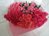卒寿お祝いバラの花束(ピンク・クインテット)90本