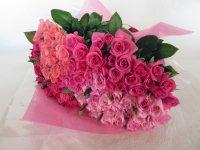 白寿お祝いバラの花束(ピンク・カルテット)99本