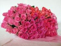 白寿お祝いバラの花束(ピンク・クインテット)99本