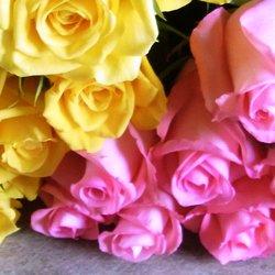 追加用のバラ1本(ローズ・デュオ ピンク&黄色)