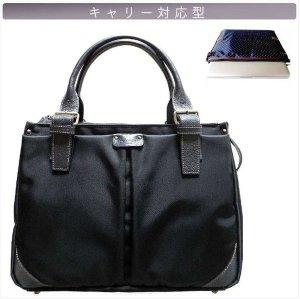 ビジネスPCバッグ【A4キャリー対応型】黒(P)×ネイビー水玉/すみれ《送料無料》