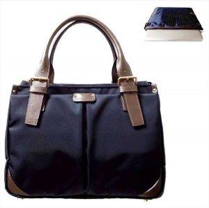 ビジネスPCバッグ【A4キャリー対応型】紺(P)×ネイビー水玉/BlueGray《送料無料》