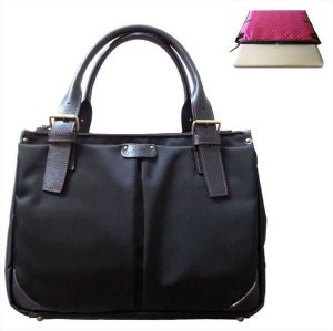 ビジネスPCバッグ【A4キャリー対応型】黒(P)×マゼンタ《送料無料》
