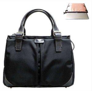 ビジネスPCバッグ【A4定番型】黒(P)× サーモン水玉《送料無料》