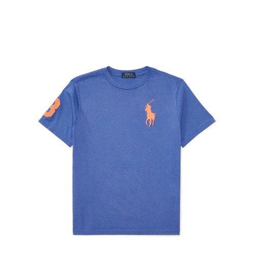 ビッグポニー・コットン半袖Tシャツ[ブルー&オレンジ](ボーイズS〜XL)
