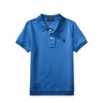 コットンメッシュ・半袖ポロシャツ[ブルー&ネイビー](男の子2〜7歳用)【ラルフローレン】