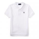 コットンメッシュ・半袖ポロシャツ[ホワイト&ネイビー](男の子2〜7歳用)【ラルフローレン】