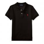 コットンメッシュ・半袖ポロシャツ[ブラック&レッド](男の子2〜7歳用)【ラルフローレン】