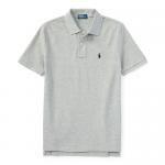 コットンメッシュ・半袖ポロシャツ[グレー&ネイビー](男の子2〜7歳用)【ラルフローレン】
