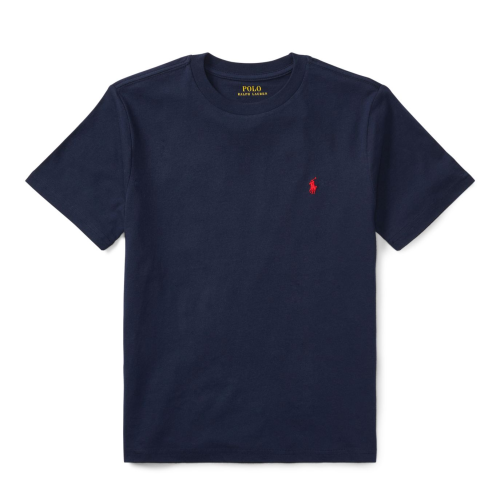 コットン・クルーネック・半袖Tシャツ[ネイビー](ボーイズS〜XL)