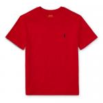 コットン・クルーネック・半袖Tシャツ[レッド](ボーイズS〜XL)
