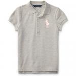 ビッグポニー・ストレッチメッシュ・半袖ポロシャツ[グレー](ガールズS〜XL)【ラルフローレン】