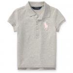 ビッグポニー・ストレッチメッシュ・半袖ポロシャツ[グレー](女の子2〜7歳用)【ラルフローレン】