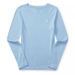 コットンブレンド・クルーネック・長袖Tシャツ[ブルー](ガールズS〜XL)【ラルフローレン】